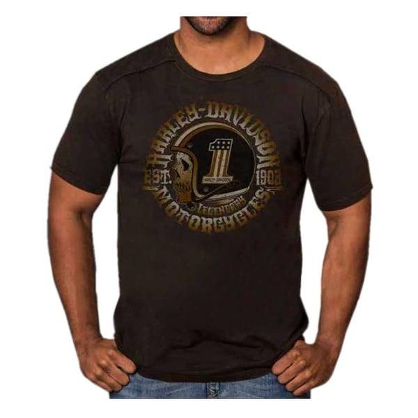 Harley-Davidson Men's Hero Skull Premium Short Sleeve T-Shirt, Black Rust Wash
