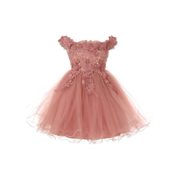 f5ac7f3c6b3e1 Little Girls Mauve 3D Floral Sequin Tulle Off Shoulder Flower Girl Dress