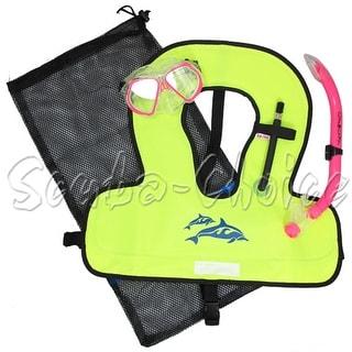 Kids Pink Snorkeling Set with Purged Mask, Snorkel, Snorkel Vest, Mesh Bag