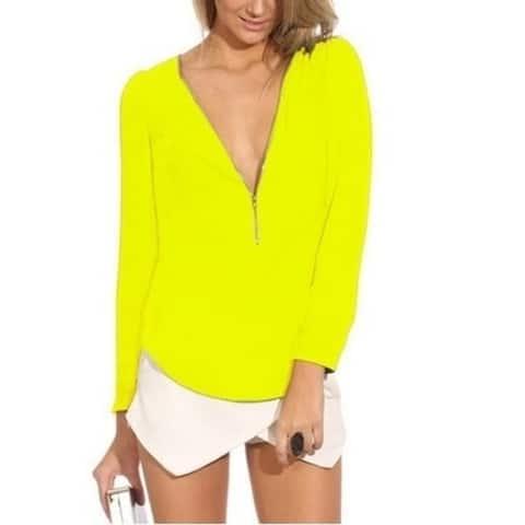 Fashion Shirt Women Office Fall Top Clothing V Neck Long Sleeve Zipper Chiffon Blouse