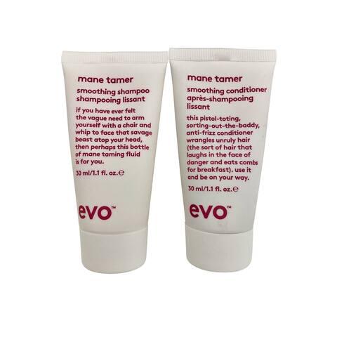 evo Mane Tamer Smoothing Shampoo & Conditioner Set 1.1 OZ Each - 2.1 - 3 Oz.
