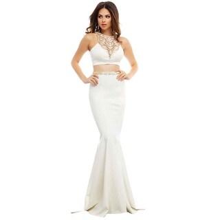 Mac Duggal Womens High Neck Embellished Crop Top Dress