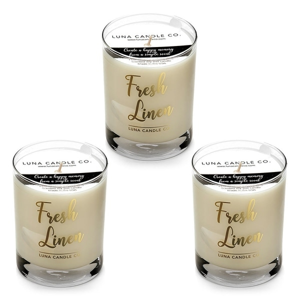 Fresh Linen Scented Candle,11oz. Glass, Premium Soy Wax, USA (3 Pack)