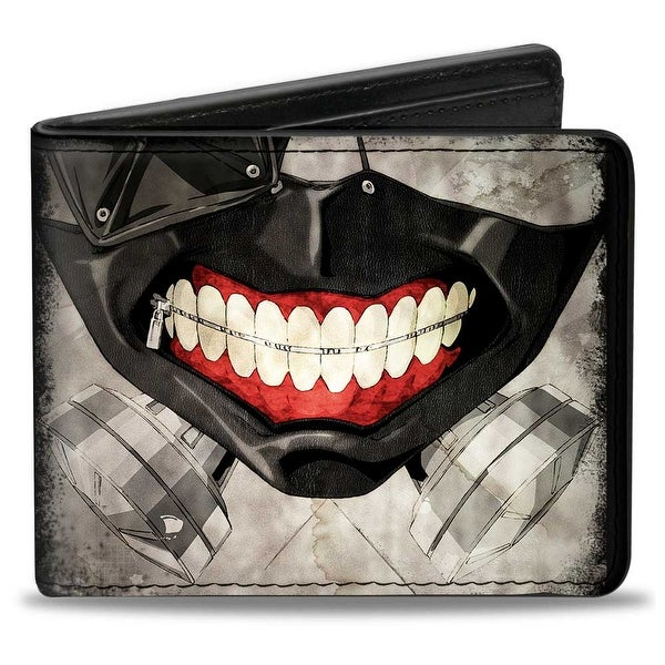 Masked Ken Kaneki Face Close Up + Tokyo Ghoul Black Grays Red Bi Fold Wallet - One Size Fits most