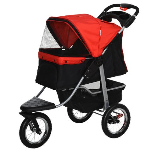 PawHut Luxury Folding Pet Stroller Dog/Cat Travel Carriage with Adjustable Canopy & a Zippered Mesh Window Door