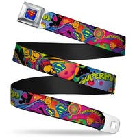 Superman Full Color Blue Superman Poses Battling Mongul Black Multi Neon Seatbelt Belt