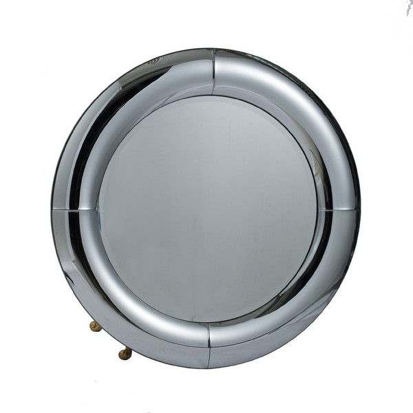 """31.5"""" Silver Vintage Style Glamour Curved Round Wall Mounted Mirror - N/A"""