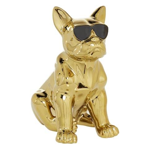 "Gold Glossy Finish On Ceramic French Bulldog Sculpture, 6.5"" X 12"" - 6 x 10 x 12"