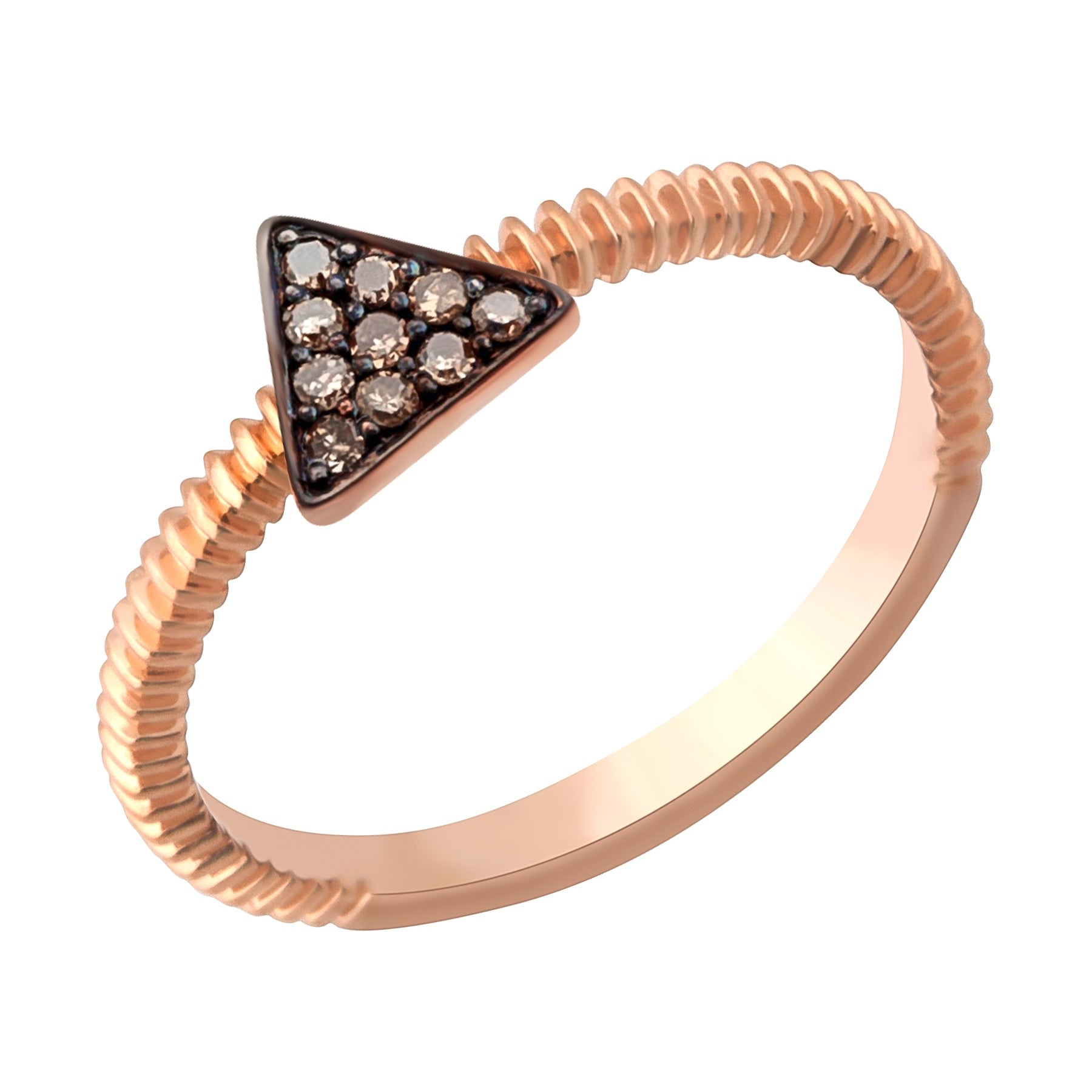 Prism Jewel 0.07Ct Round Brown Diamond Triangle Shaped Fancy Ring - Thumbnail 0