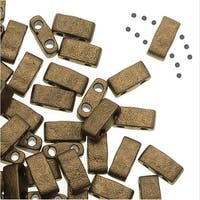 Miyuki Half Tila 2 Hole Rectangle Beads 5x2.3mm - Matte Metallic Gold 7.8 Grams
