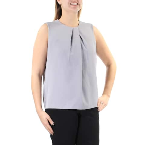 ANNE KLEIN Womens Gray Jewel Neck Wear To Work Top Size: 12