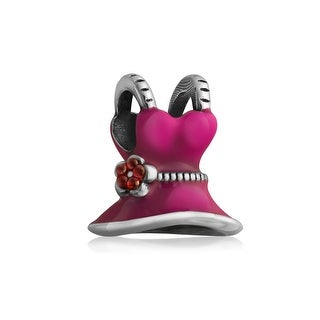 Bling Jewelry 3D Pink Enamel Flower Dress Danlge Charm Bead .925 Sterling Silver