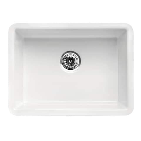 "ALFI brand AB2317 23"" Traditional Fireclay Undermount Rectangular Kitchen Sink - White"