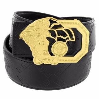 Gold Tone Medusa Buckle Open Face Unique Black Leather Belt 37mm Mens