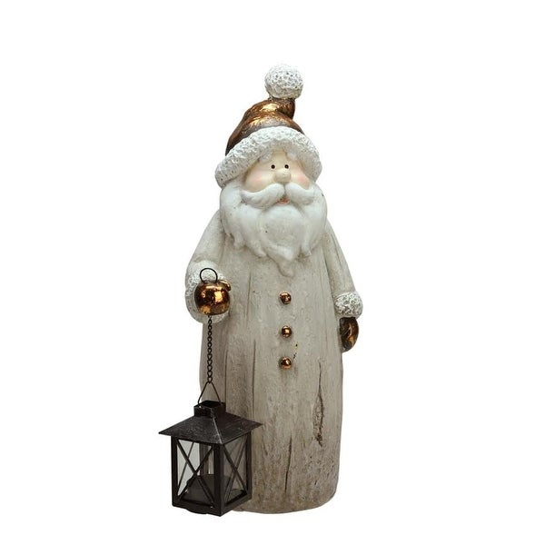 "16.50"" Weathered Santa with Tea Light Candle Lantern Christmas Figure"
