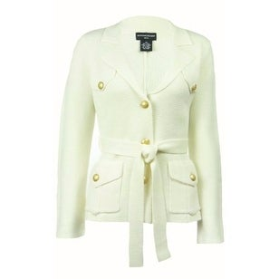 Sutton Studio Womens Wool Double Knit Military Jacket Misses Large - Ivory