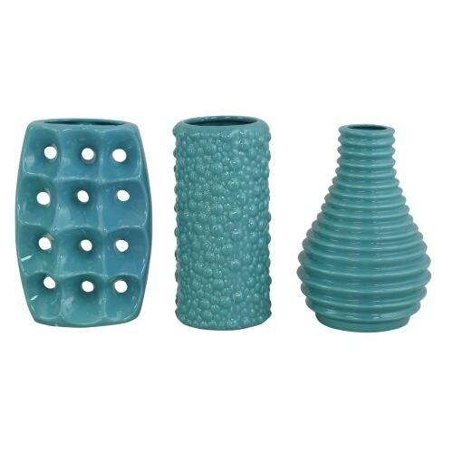 Aspire Home Accents 9260 Mia Teal Ceramic Vases (Set of 3)