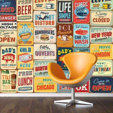 Walplus Vintage Bar Metal Signs Wall Sticker Decal DIY Art Home Décor