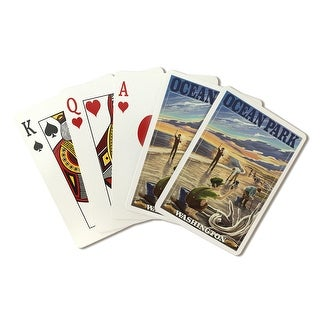 Ocean Park, Washington - Clam Diggers - Lantern Press Artwork (Playing Card Deck - 52 Card Poker Size with Jokers)