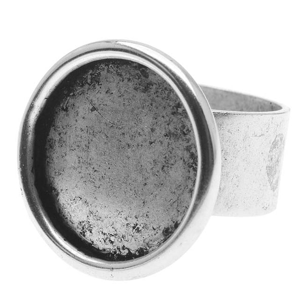 Nunn Design Antiqued Silver Plated Pewter Large Bezel Round Adjustable Ring