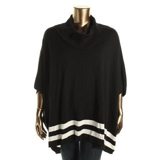Calvin Klein Womens Striped Cowl-Neck Poncho Sweater