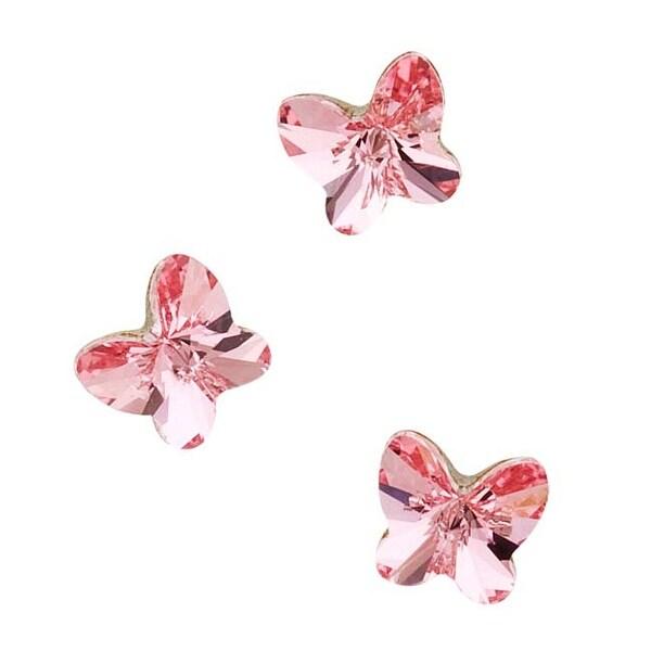Swarovski Elements Crystal, 4748 Rivoli Butterfly Rhinestones 5mm, 6 Pieces, Light Rose F