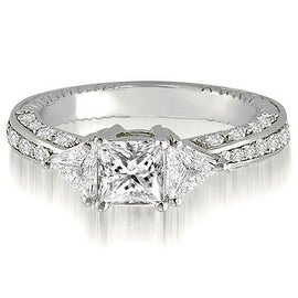 1.30 cttw. 14K White Gold Princess And Trillion Diamond 3-Stone Engagement Ring