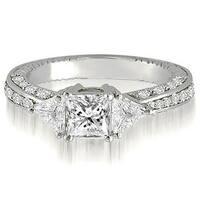 1.30 cttw. 14K White Gold Princess And Trillion Diamond 3-Stone Engagement Ring