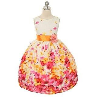 Kids Dream Little Girls Fuchsia Flower Print Sash Easter Dress 2T-12 (Option: Red)