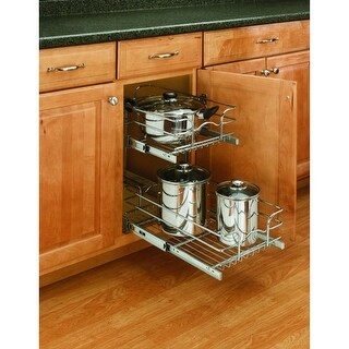"Rev-A-Shelf 5WB2-0918 5WB Series 9"" Wide by 18"" Deep Two Tier Pull Out Base Cabinet Wire Basket Organizer - N/A"