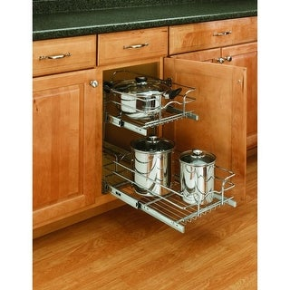 "Rev-A-Shelf 5WB2-1218 5WB Series 12"" Wide by 18"" Deep Two Tier Pull Out Base Cabinet Wire Basket Organizer - N/A"
