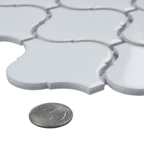SomerTile 9.50x10.75-inch Victorian Morocco Glossy White Porcelain Mosaic Floor and Wall Tile