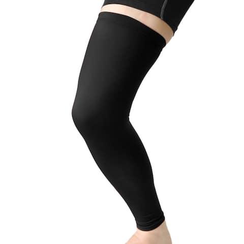 Unique Bargains Black XL Size Long Sport Stretch Brace Leg Sleeve Knee Calf UV Protector