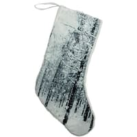 "18"" Serene Woodland During Snowfall Christmas Stocking - brown"