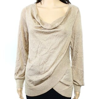 INC NEW Gold Womens Size Large L Cowl Neck Metallic Tulip Hem Sweater