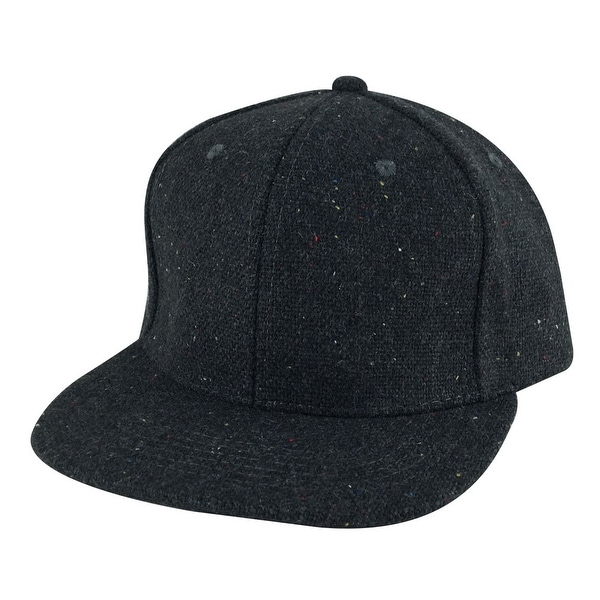 Flat Brim Wool Confetti Sparkle Adjustable Snapback Hat Cap - Chcarcoal Grey