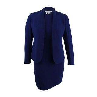 Anne Klein Women's Shawl-Collar Sleeveless Sheath Dress Suit (18, Navy) - Navy - 18