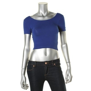 American Apparel Womens Short Sleeves Crew Neck Crop Top