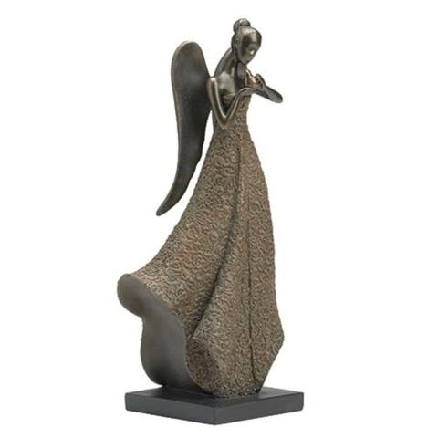 """12.5"""" Brown and Gray Lace Angel with Bird Figurine Statue"""