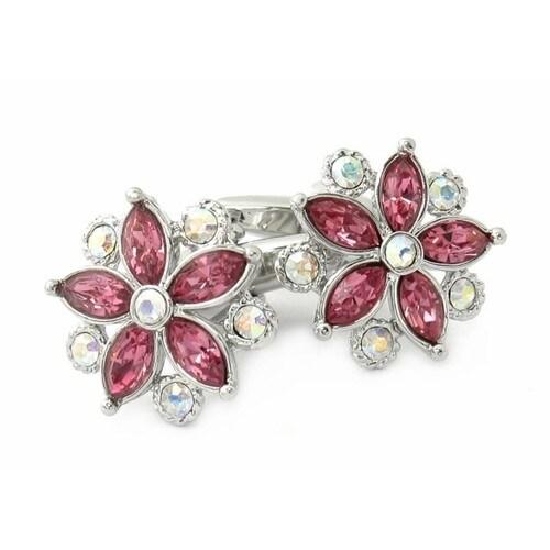 Swarovski Elements Crystal Flower Cufflinks Pink