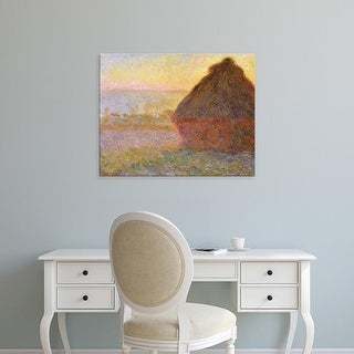 Easy Art Prints Claude Monet's 'Haystacks, Sunset' Premium Canvas Art
