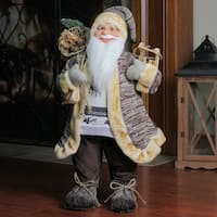 """24"""" Natural Country Rustic Standing Santa Claus Christmas Figure with Sled - brown"""