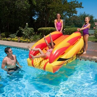 "92"" Orange, Yellow and Black Aqua Fun Inflatable Aqua Launch Swimming Pool Slide"