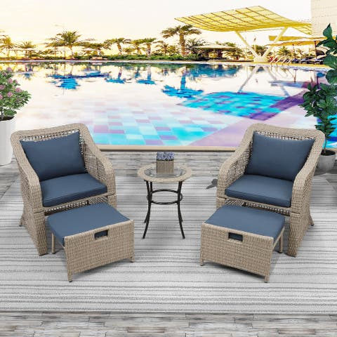 Nestfair 5-piece Outdoor Conversation Set Bistro Set Rattan with Stools and Tempered Glass Table