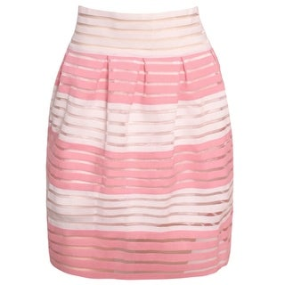 Ko Ko Ailis Women Juniors Pink White Stripe Pattern Pleated Style Skirt S