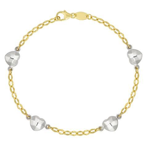 """Forever Last 10KT Gold Bonded over Silver 7.50"""" White Heart Bracelet"""