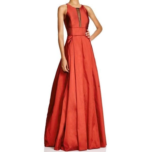 Shop Aidan Mattox NEW Red Women\'s Size 2 Mesh Insert Pleated Ball ...