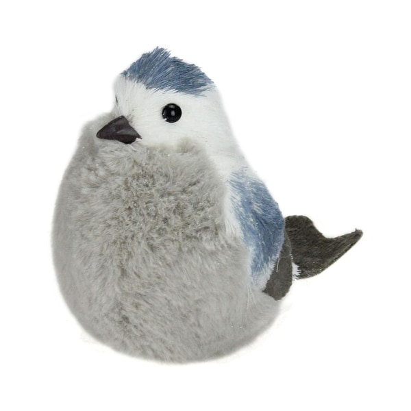 """6.25"""" Sitting Tall Blue Bird Christmas Table Top Decoration - WHITE"""