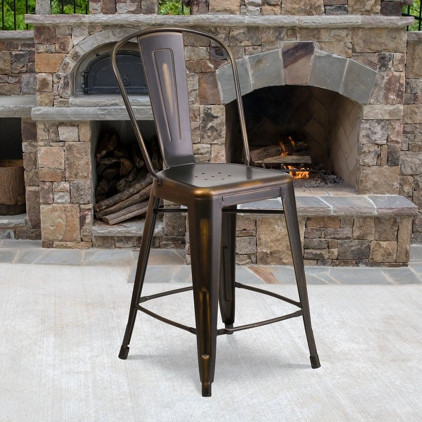 "24"" High Distressed Metal Indoor-Outdoor Counter Height Stool with Back - 17.75""W x 22""D x 40.25""H. Opens flyout."