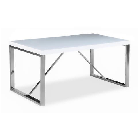 Modern Mid Century White Glossy Paint Wood top Silver Chrome Steel Leg Base Rectangle Dining Table Home Office Restaurant